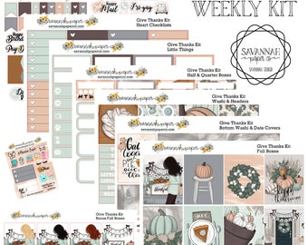 Give Thanks Weekly Kit / Full Kit / Mini Kit / Vertical Layout / Planner Stickers /  / Savannah Paper Co