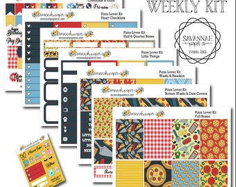 Pizza Lover Weekly Kit / Full Kit / Mini Kit / Vertical Layout / Planner Stickers /  / Savannah Paper Co
