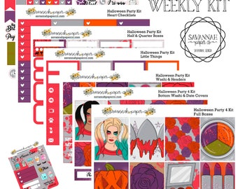Harley Quinn Inspired Weekly Kit / Full Kit / Mini Kit / Vertical Layout / Planner Stickers /  / Halloween /  Savannah Paper Co