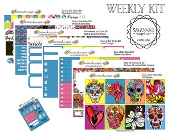 Day of the Dead Weekly Kit / Full Kit / Mini Kit / Vertical Layout / Planner Stickers /  / Halloween / Savannah Paper Co