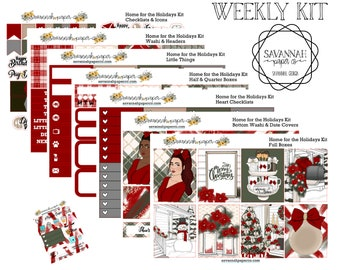 Home for the Holidays Weekly Kit / Full Kit / Mini Kit / Vertical Layout / Planner Stickers /  / Christmas / Savannah Paper Co