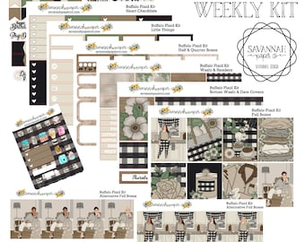 Buffalo Plaid Weekly Kit / Full Kit / Mini Kit / Vertical Layout / Planner Stickers /  / Savannah Paper Co