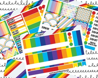 Rainbow A5 Wide Monthly Kit / Full Kit / Recollections / EC / Planner Stickers  / Savannah Paper Co