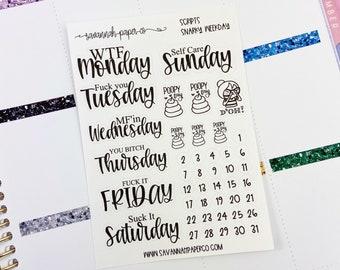 Snarky Days of the Week Snarky Days of the Week Stickers / Functional Stickers / Vertical Horizontal Layout / Horizontal  / Savannah Paper C