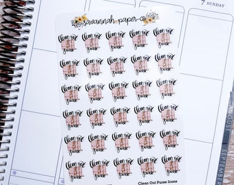 Clean Out Purse Stickers / Purse Sheets Icons / Functional Stickers / Vertical Layout / Planner Stickers /  / Savannah Paper Co