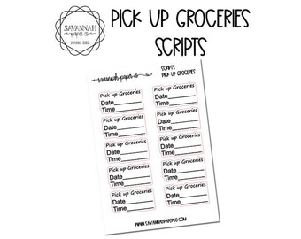 Pick Up Groceries Script Stickers / Words / Functional Stickers / Vertical Layout / Planner Stickers /  / Savannah Paper Co