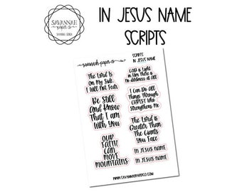 FOILED In Jesus Name Script Stickers / Words / Functional Stickers / Vertical Layout / Planner Stickers /  / Savannah Paper Co