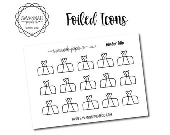 Binder Clips Foiled Stickers / Snarky Stickers / Functional Stickers / Planner Stickers / Savannah Paper Co