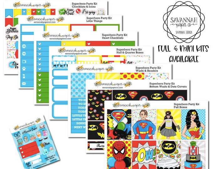 Featured listing image: Superhero Party Weekly Kit / Full Kit / Mini Kit / Erin Condren / Planner Stickers / Happy Planner / Savannah Paper Co