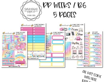 My Happy Place PP WEEKS Weekly Kit / B6 Full Kit / Print Pression / Vertical Layout / Planner Stickers /  / Savannah Paper Co