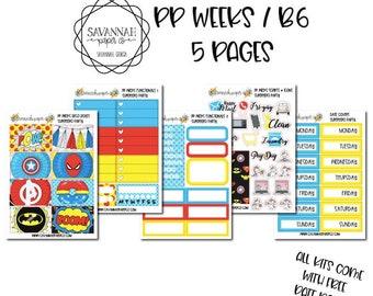 Superhero Party PP WEEKS Weekly Kit / B6 Full Kit / Print Pression / Vertical Layout / Planner Stickers /  / Savannah Paper Co