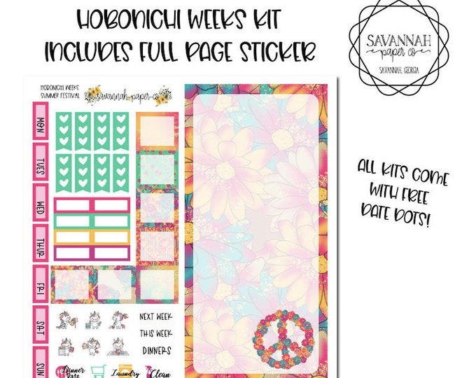 Featured listing image: Summer Festival Hobonichi Weekly Kit / Full Kit / Hobo Weeks / Fauxbonichi / Planner Stickers / Hobonichi Weeks / Savannah Paper Co