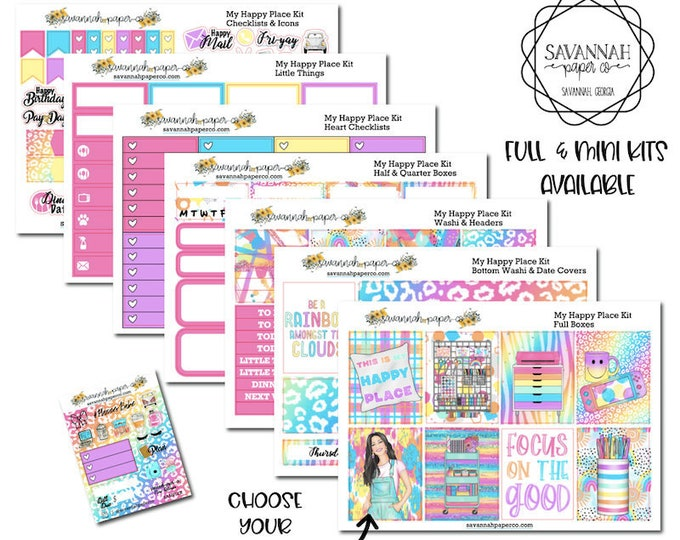 Featured listing image: My Happy Place Weekly Kit / Full Kit / Mini Kit / Erin Condren / Planner Stickers / Happy Planner / Savannah Paper Co