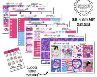 America Weekly Kit / Full Kit / Mini Kit / Vertical Layout / Planner Stickers /  / Savannah Paper Co