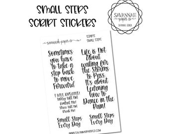 FOILED Small Steps Script Stickers / Words / Motivational Functional Stickers / Erin Condren / Planner Stickers /  / Savannah Paper Co