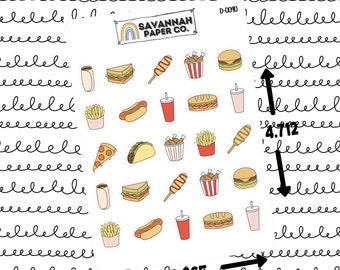 Foodie Sampler Stickers / Doodle Icons / Functional Stickers / Vertical Layout / Planner Stickers / Savannah Paper Co / D-0070