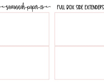 Full Box Side DAY EXTENDERS / PP Weeks Full Kit / Print Pression / Vertical Layout / Planner Stickers /  / Savannah Paper Co