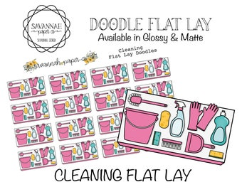 Cleaning Flat Lay Stickers / Flatlay Sheet Icons / Functional Stickers / Erin Condren / Planner Stickers /  / Savannah Paper Co