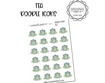 Tea Doodle Icon Stickers / Icons / Functional Stickers / Vertical Layout / Planner Stickers /  / Savannah Paper Co
