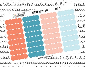 Salt Life Mini Scallop Boxes / Multi Color / B6 / Vertical Layout / Planner Stickers / Labels / Headers / Functional / Savannah Paper Co