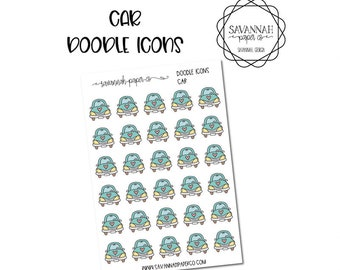 Car Doodle Icon Stickers / Icons / Functional Stickers / Vertical Layout / Planner Stickers /  / Savannah Paper Co