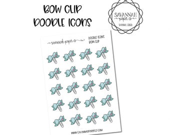 Bow Clip Doodle Icon Stickers / Icons / Functional Stickers / Vertical Layout / Planner Stickers /  / Savannah Paper Co