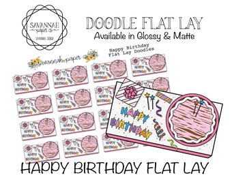 Birthday Flat Lay Stickers / Flatlay Sheet Icons / Functional Stickers / Erin Condren / Planner Stickers /  / Savannah Paper Co