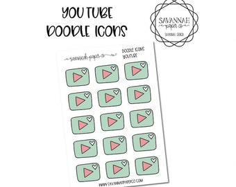 YouTube Doodle Icon Stickers / Icons / Functional Stickers / Vertical Layout / Planner Stickers /  / Savannah Paper Co