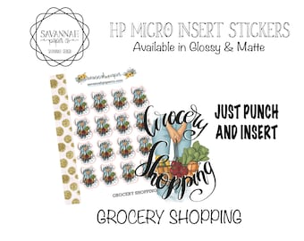 GROCERY Stickers / HP Micro Insert Stickers / Functional Stickers / Vertical Layout / Planner Stickers /  / Savannah Paper Co