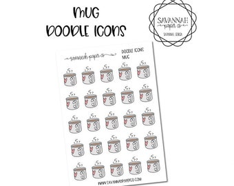 Mug Doodle Icon Stickers / Icons / Functional Stickers / Vertical Layout / Planner Stickers /  / Savannah Paper Co