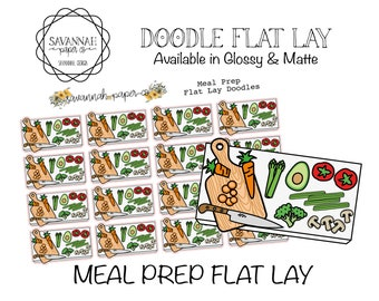 Meal Prep Flat Lay Stickers / Flatlay Sheet Icons / Functional Stickers /Erin Condren / Planner Stickers /  / Savannah Paper Co