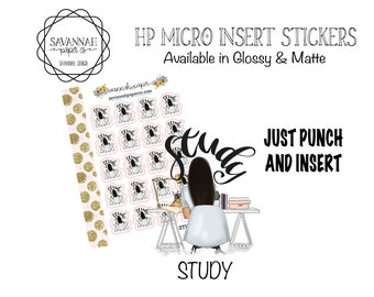 STUDY Stickers / HP Micro Insert Stickers / Functional Stickers / Vertical Layout / Planner Stickers  Savannah Paper Co