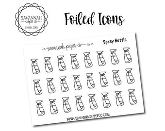 Spray Bottle Foiled Stickers / Song / Icon Stickers / Functional Stickers / Planner Stickers / Savannah Paper Co