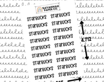 Starbucks Script Stickers / Words / Functional Stickers / Vertical Layout / Planner Stickers /  / Savannah Paper Co