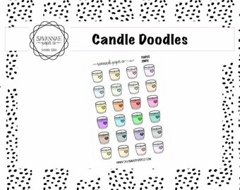 Candle Doodle Stickers / Fall / Icons / Functional Stickers / Vertical Layout / Planner Stickers / Savannah Paper Co