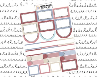 Old Glory Functionals One Page Kit / Vertical Kit / B6 Kit / PP Weeks / Horizontal / Planner Stickers / Savannah Paper Co
