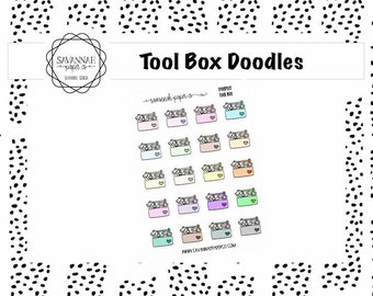 Tool Box Doodle Stickers / Doodle Icons / Functional Stickers / Vertical Layout / Planner Stickers / Savannah Paper Co