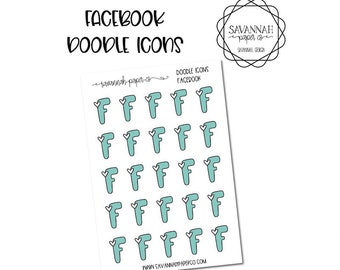 Facebook Doodle Icon Stickers / Icons / Functional Stickers / Vertical Layout / Planner Stickers /  / Savannah Paper Co