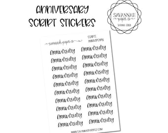 Anniversary Script Stickers / Words / Functional Stickers / Vertical Layout / Planner Stickers /  / Savannah Paper Co