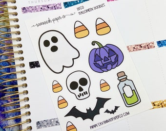 Halloween Doodles Stickers / Icons / Functional Stickers / Vertical Layout / Planner Stickers / Savannah Paper Co