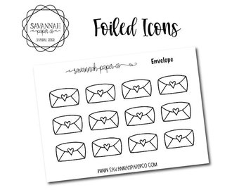 Envelopes Foiled Stickers / Snarky Stickers / Functional Stickers / Planner Stickers / Savannah Paper Co