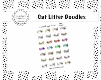 Cat Litter Doodle Stickers / Doodle Icons / Functional Stickers / Vertical Layout / Planner Stickers / Savannah Paper Co