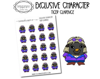 Tiger Clarence / Exclusive / Hand Drawn / Character Stickers / Vertical Layout / Planner Stickers /  / Savannah Paper Co