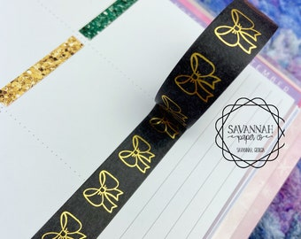 Black Bow Gold Foiled Washi Tape / Silver Foil / Exclusive Design / Paper Tape / Foiled Washi / Savannah Paper Co