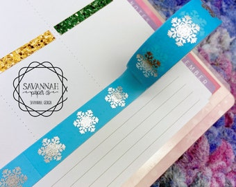 Blue Snowflakes Silver Foiled Washi Tape / Gold Foil / Exclusive Design / Paper Tape / Foiled Washi / Savannah Paper Co
