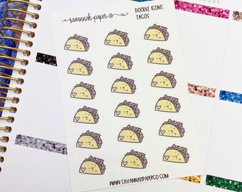 Taco Doodle Icon Stickers / Icons / Functional Stickers / Vertical Layout / Planner Stickers /  / Savannah Paper Co