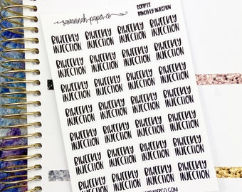 Biweekly Injection Script Stickers / Words /  Functional Stickers / Planner Stickers /  Savannah Paper Co