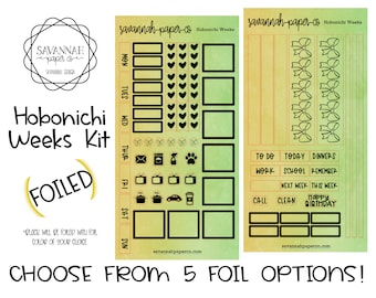 FOILED Limeade Hobonichi Weekly Kit / Full Kit / Hobo Weeks / Fauxbonichi / Planner Stickers / Foiled Stickers / Savannah Paper Co
