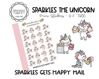 SPARKLES Gets Happy Mail / HP Micro Stickers / Hobonichi Stickers / Erin Condren / Planner Stickers Icon /  / Savannah Paper Co