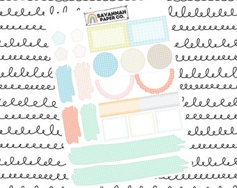 Pastel Grid Journaling One Page Kit / B6 Kit / PP Weeks / Horizontal /Vertical /  Planner Stickers / Savannah Paper Co